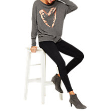 Buy Mint Velvet Heart Foil Print Jumper, Grey Online at johnlewis.com