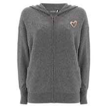 Buy Mint Velvet Heart Foil Print Hoddie, Dark Grey Online at johnlewis.com