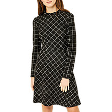 Buy Warehouse Warmhandle Check Polo Dress, Grey Pattern Online at johnlewis.com