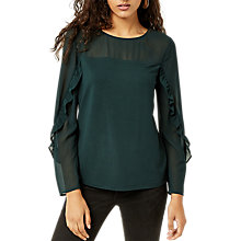 Buy Warehouse Sheer Long Sleeve Ruffle Top Online at johnlewis.com