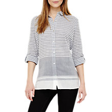 Buy Phase Eight Joi Stripe Shirt, Grey/Ivory Online at johnlewis.com