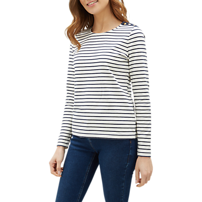 Jaeger Breton Stripe Jersey Top, Ivory/Multi
