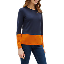 Buy Jaeger Colour Block Top, Navy/Orange Online at johnlewis.com