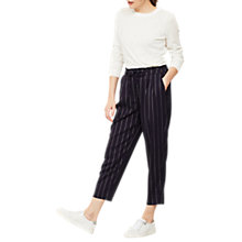 Buy Mint Velvet Stripe Paperbag Trousers, Dark Blue Online at johnlewis.com