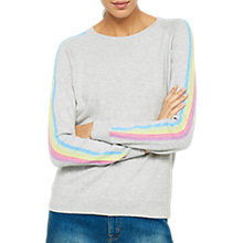 Buy Mint Velvet Rainbow Stripe Sleeve Jumper, Light Grey Online at johnlewis.com