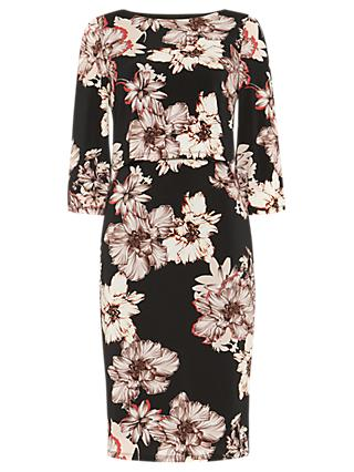Phase Eight Thea Floral Print Dress, Black/Multi