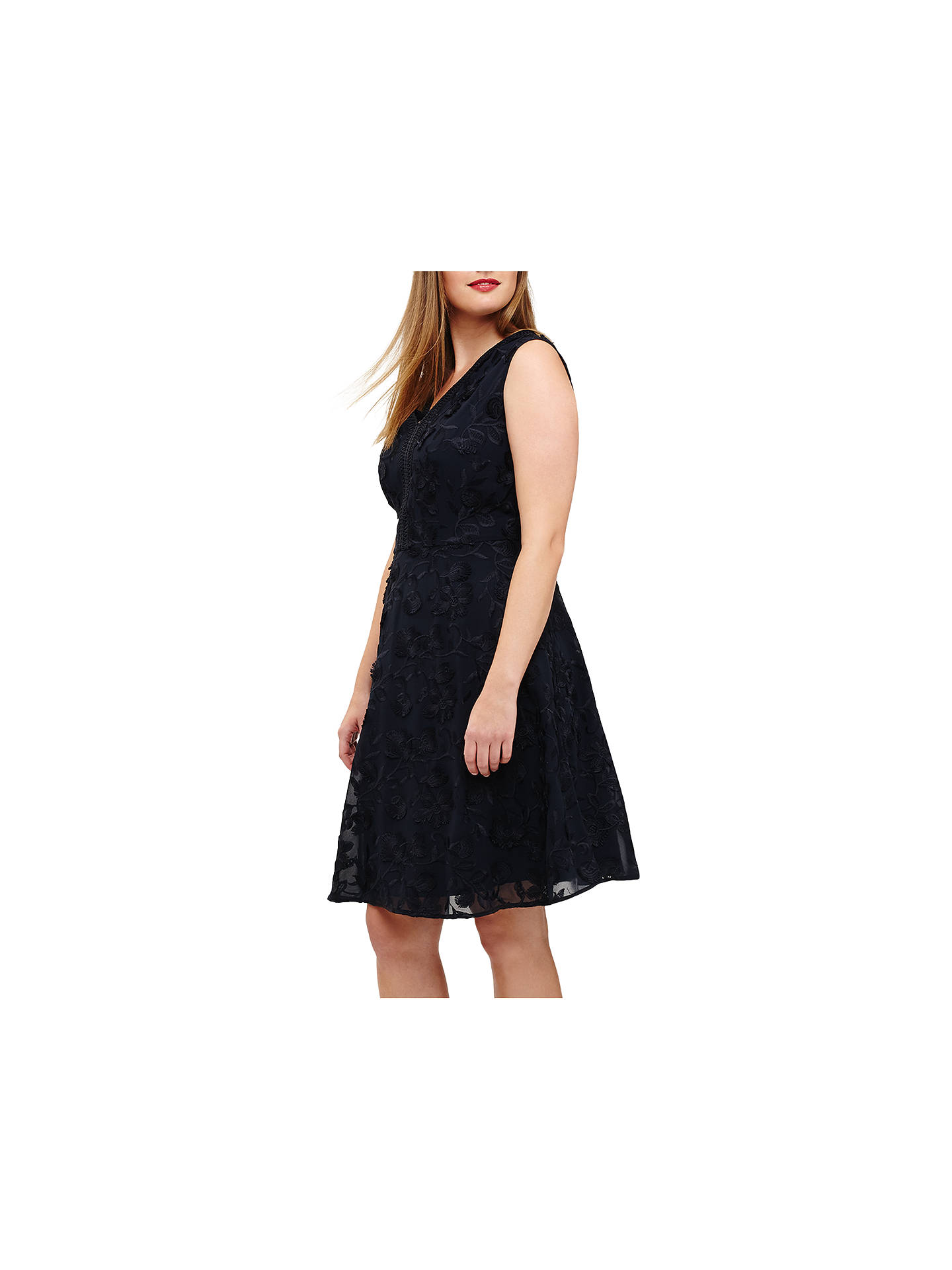Buy Studio 8 Flora Embroidered Dress, Navy, 22 Online at johnlewis.com