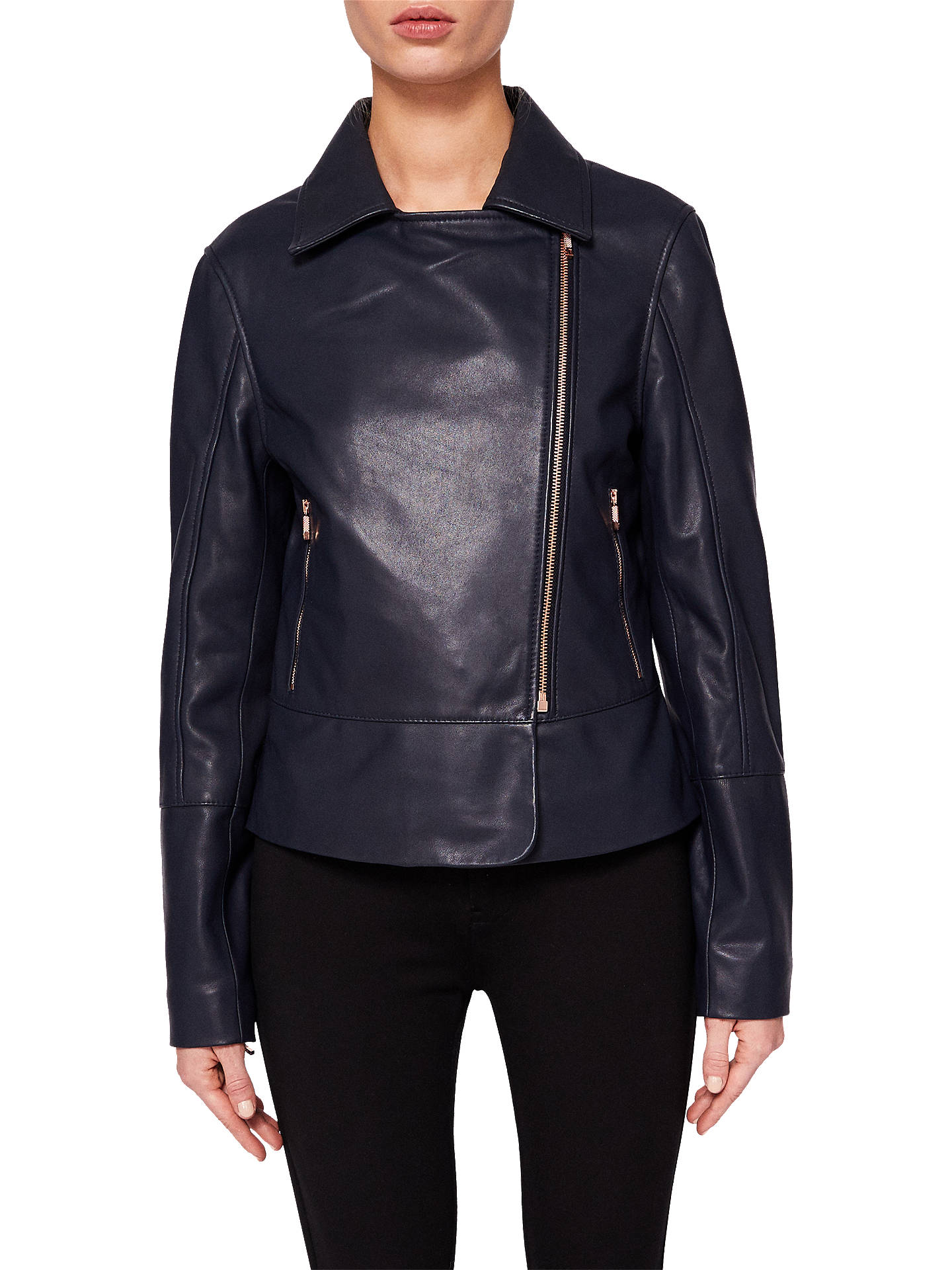 lovely design buying cheap outlet store Ted Baker Lizia Minimal Biker Jacket, Navy at John Lewis ...