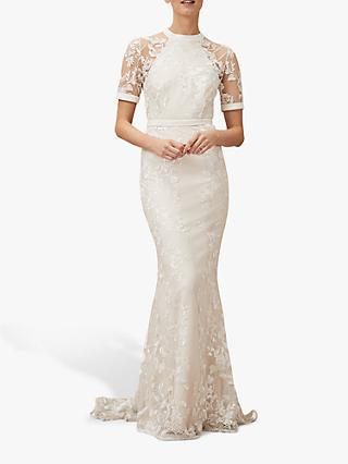 Phase Eight Poppy Embroidered Bridal Dress, Pearl
