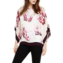 Buy Phase Eight Peony Floral Silk Blouse, Magenta Online at johnlewis.com