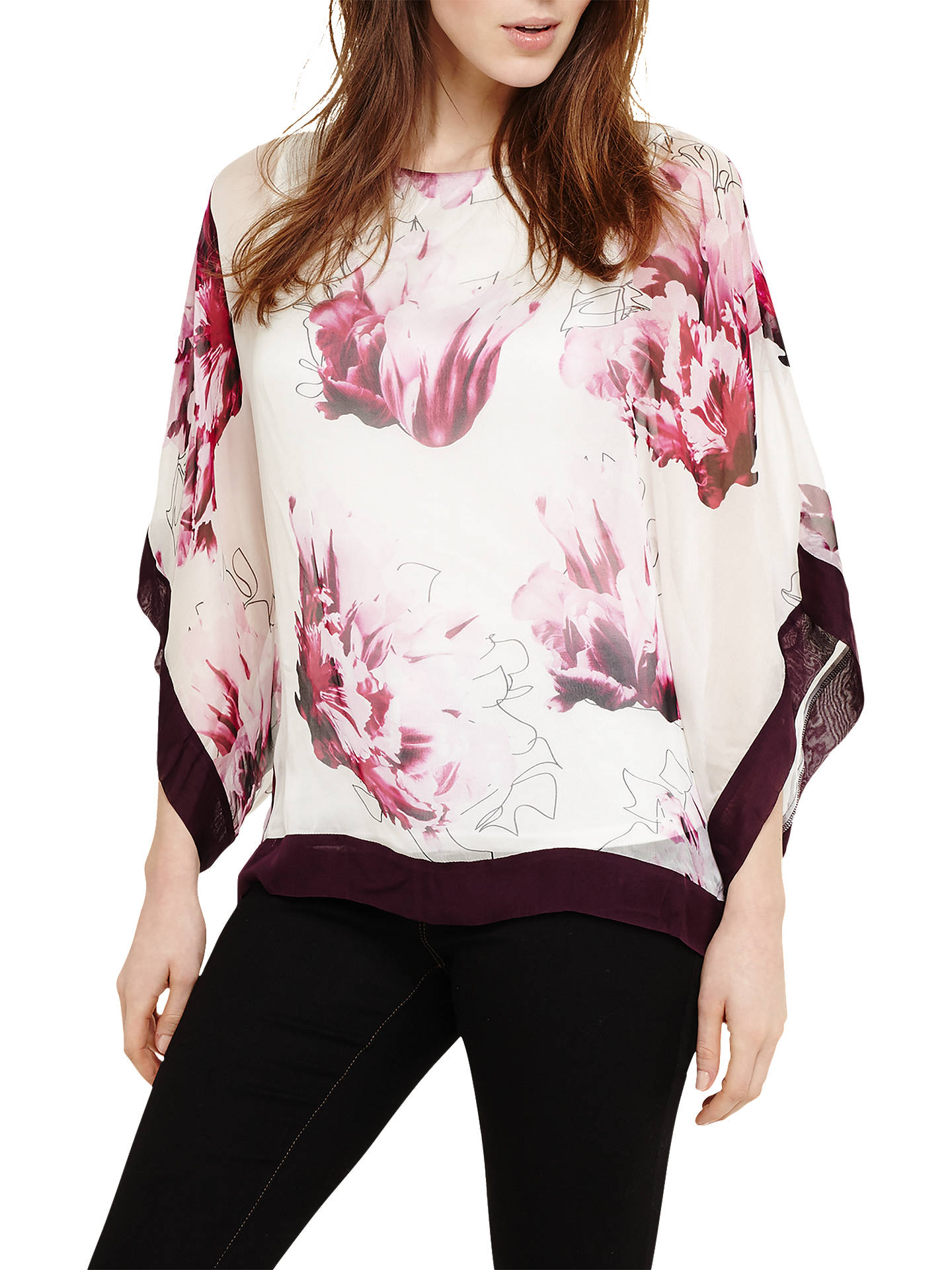 30bc544ac06e0b Buy Phase Eight Peony Floral Silk Blouse, Magenta, XS Online at  johnlewis.com ...