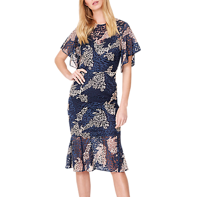 Damsel in a Dress Jamil Lace Fluted Sleeve Dress, Pink/Navy