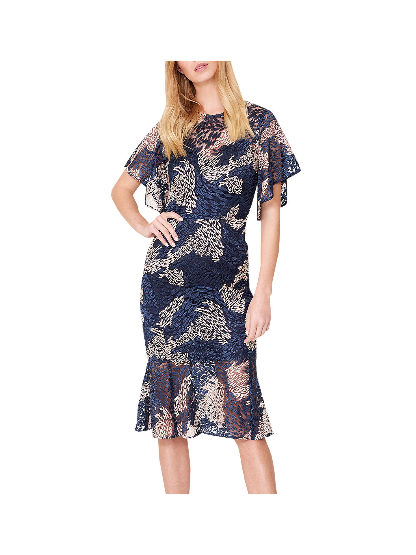 1ac3f2a2ae0 Damsel in a Dress Jamil Lace Fluted Sleeve Dress, Pink/Navy at John ...