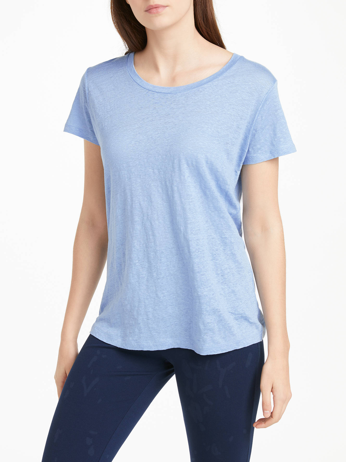 85b71096e95f Buy Winser London Pure Linen T-Shirt Top, Chambray Blue, M Online at ...