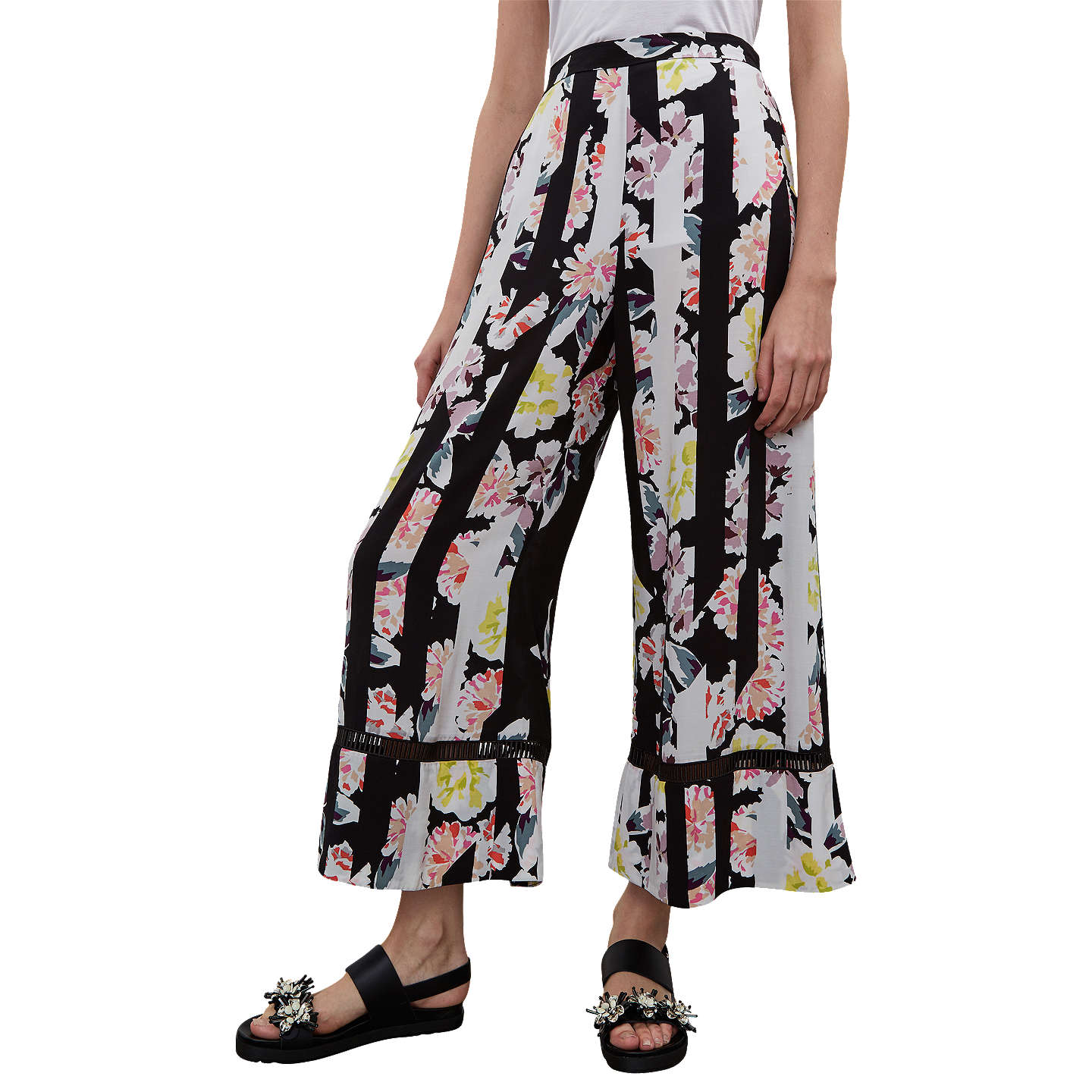 BuyFrench Connection Enoshima Culotte Trousers, Black/Multi, 6 Online at johnlewis.com