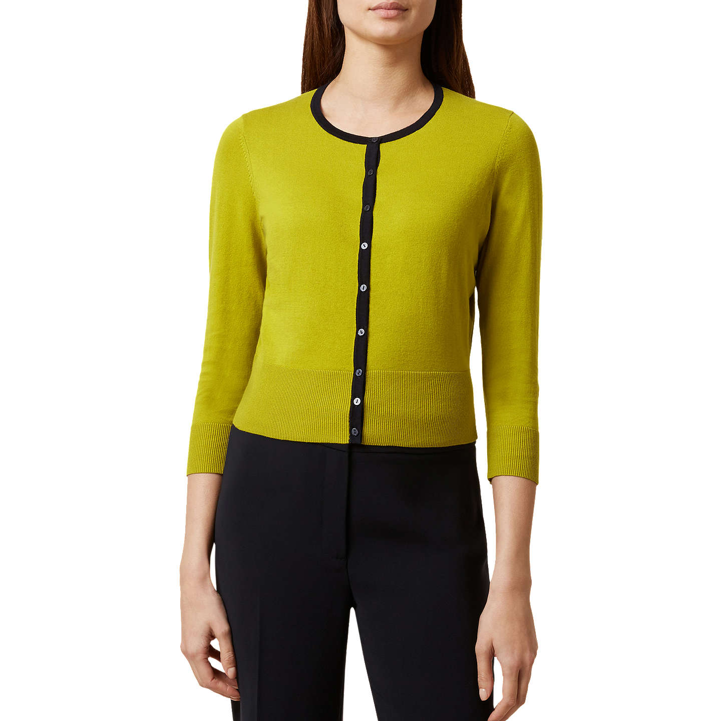 BuyHobbs Evie Cardigan, Chartreuse/Navy, XS Online at johnlewis.com