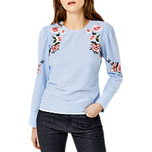 Buy Warehouse Stripe Floral Embroidered Top, Blue Online at johnlewis.com