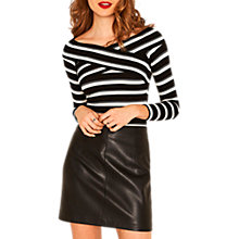 Buy Oasis Striped Wrap Bardot Top, Multi/Black Online at johnlewis.com