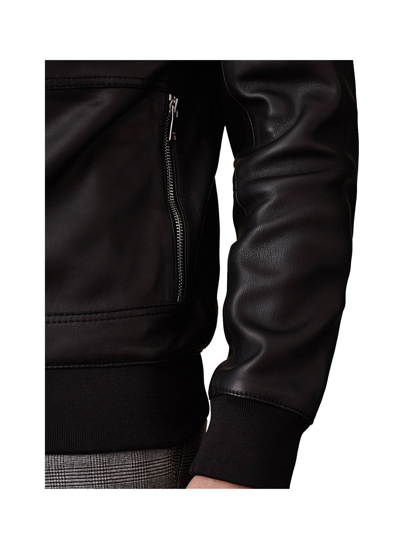 afdab823f Reiss Bones Leather Bomber Jacket, Black at John Lewis & Partners