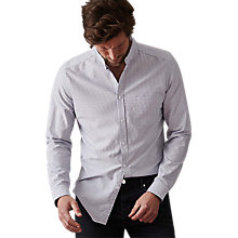 Buy Reiss Rex Grandad Collar Broken Stripe Shirt, Soft Blue Online at johnlewis.com