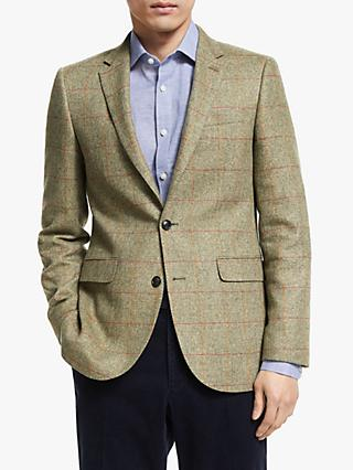John Lewis & Partners British Wool Cotton Multi Check Tailored Blazer, Green