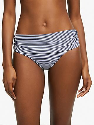 John Lewis & Partners Fine Stripe Fold Down Bikini Briefs, Blue/White
