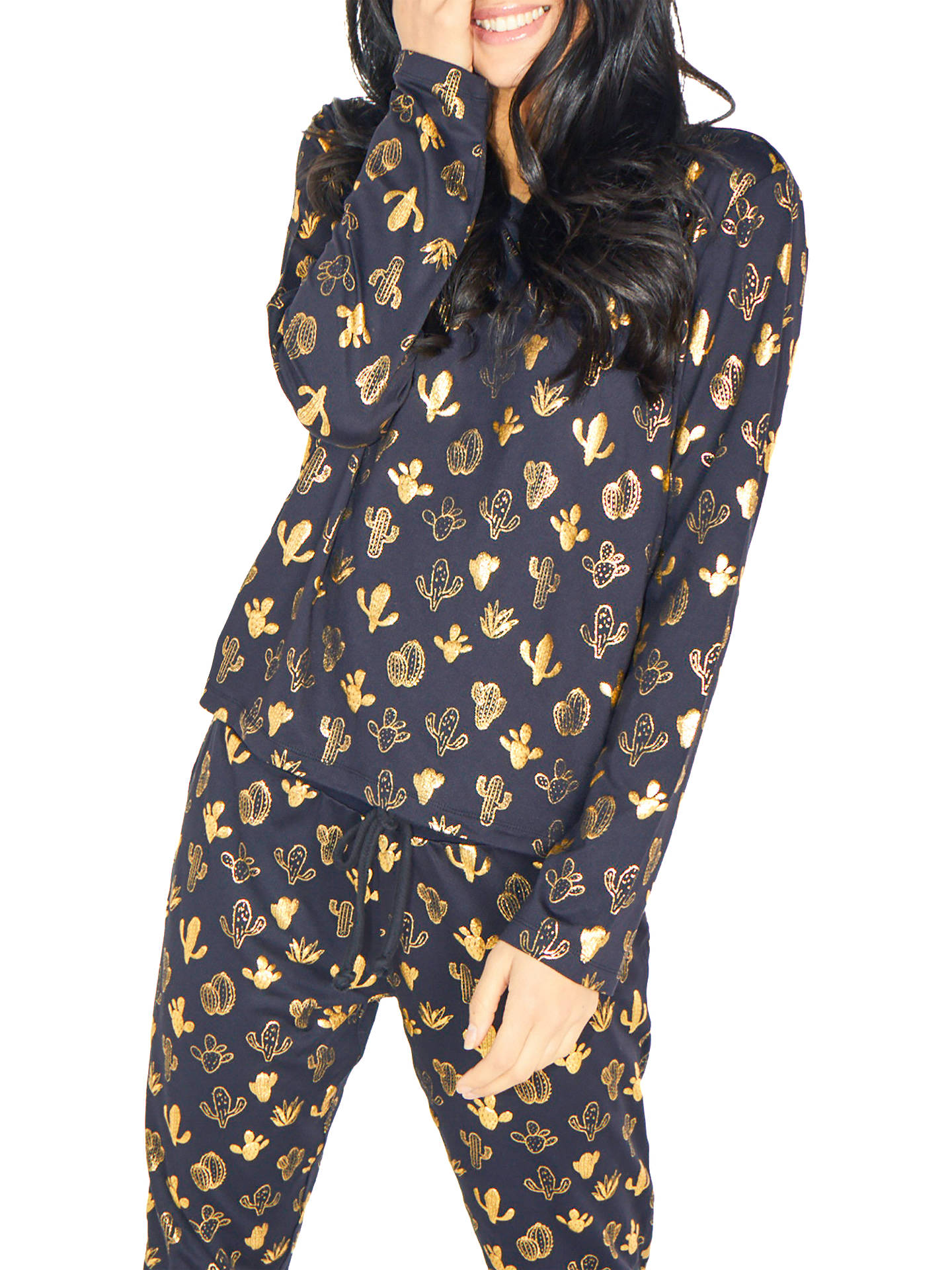 Buy Chelsea Peers Cactus Print Jersey Pyjama Set, Navy/Gold, M Online at johnlewis.com
