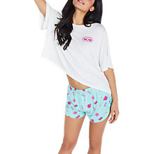 Buy Chelsea Peers Eye Mask Bunny Print T-Shirt And Shorts Pyjama Set, White/Turquoise Online at johnlewis.com