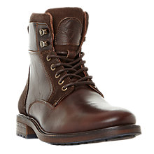 Buy Dune Colchester Leather Worker Boots, Brown Online at johnlewis.com