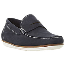 Buy Dune Balloon Leather Loafers, Navy Online at johnlewis.com