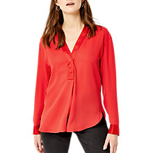 Buy Warehouse Long Sleeve Satin Mix Blouse Online at johnlewis.com