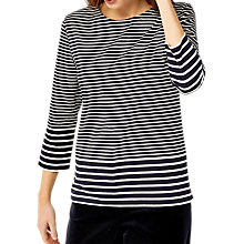 Buy Warehouse Engineered Stripe Top, Navy/White Online at johnlewis.com