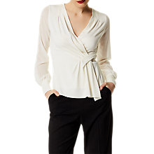 Buy Karen Millen Draped Wrap Jersey Top, Ivory Online at johnlewis.com
