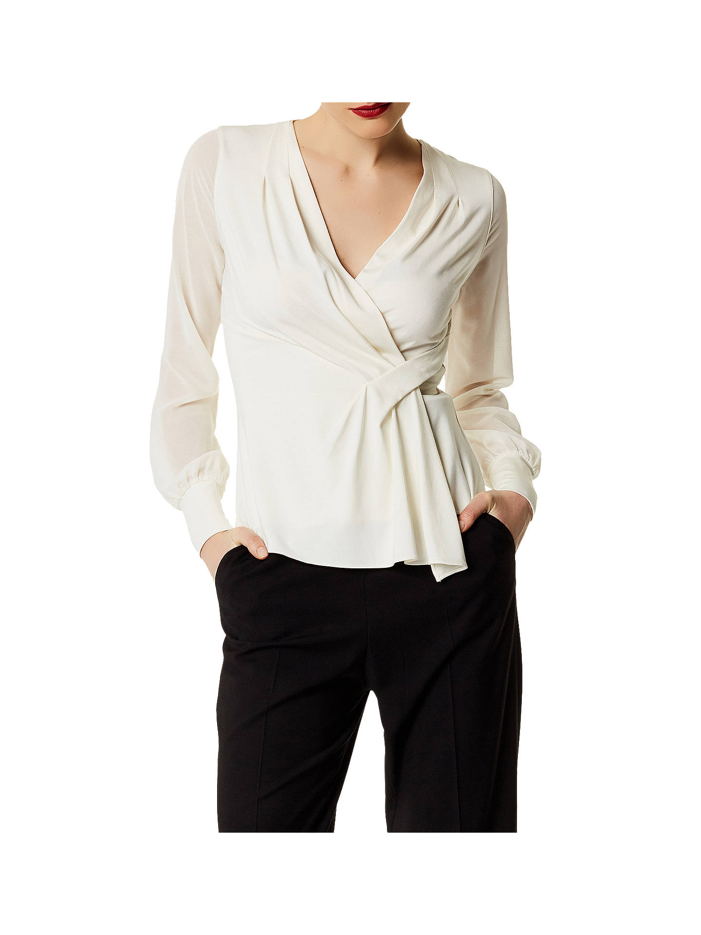 7e1796ea954 Buy Karen Millen Draped Wrap Jersey Top, Ivory, 6 Online at johnlewis.com  ...