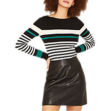 Buy Oasis Duffy Stripe Long Sleeve Boat Neck Jumper, Multi Green Online at johnlewis.com