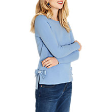 Buy Oasis Bow Hem Knit Jumper, Light Blue Online at johnlewis.com
