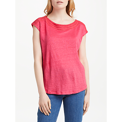 Boden Boat Neck Jersey Top, Coral Sunset