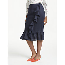 Buy Boden Neve Pure Linen Skirt, Navy Online at johnlewis.com