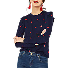 Buy Oasis Heart Ruffle Jumper, Multi Blue Online at johnlewis.com