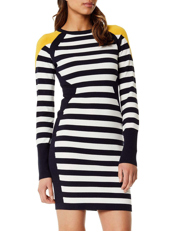 Karen Millen Stripe Knit Dress, Multi at John Lewis & Partners