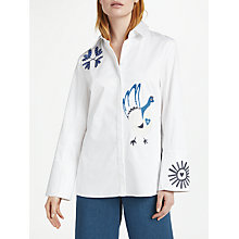 Buy Finery Walden Craft Embroidered Birds Shirt, White Online at johnlewis.com