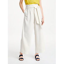 Buy Boden Tie Waist Cropped Trousers, Ivory Online at johnlewis.com