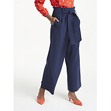 Buy Boden Tie Waist Cropped Trousers, Navy Online at johnlewis.com