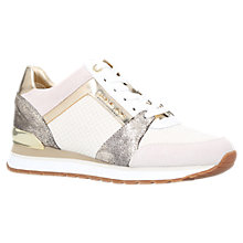 Buy MICHAEL Michael Kors Billie Lace Up Trainers, Beige Comb Online at johnlewis.com