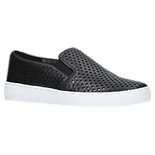Buy MICHAEL Michael Kors Keaton Slip On Trainers, Black Leather Online at johnlewis.com