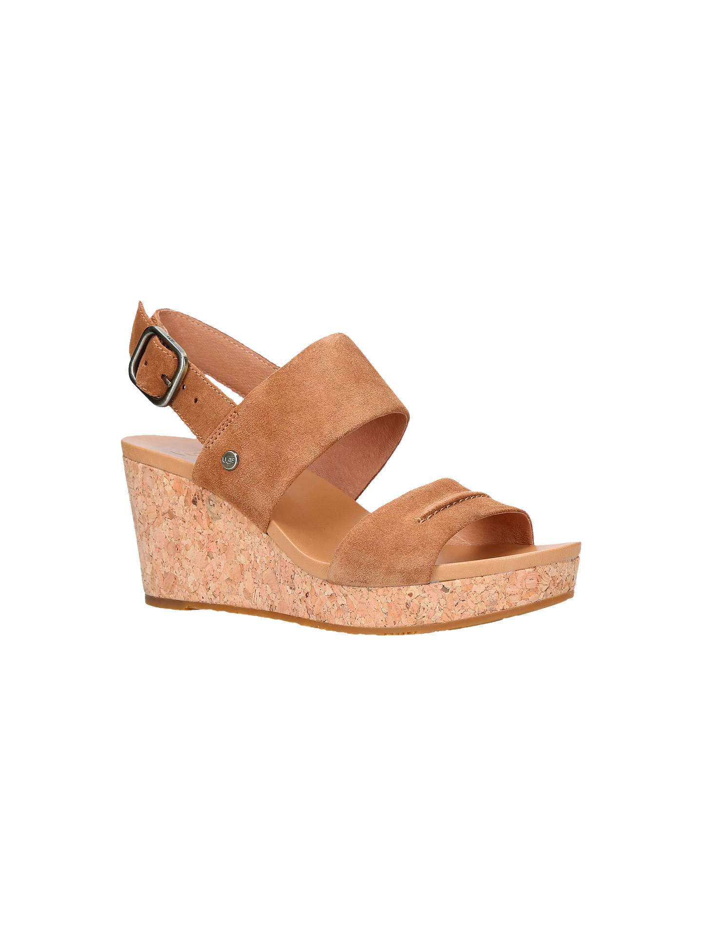 42a13626998 UGG Elena II Wedge Heel Sandals, Brown Suede at John Lewis & Partners