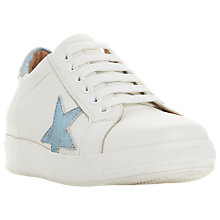 Buy Dune Edris Lace Up Star Trainers, White Leather Online at johnlewis.com
