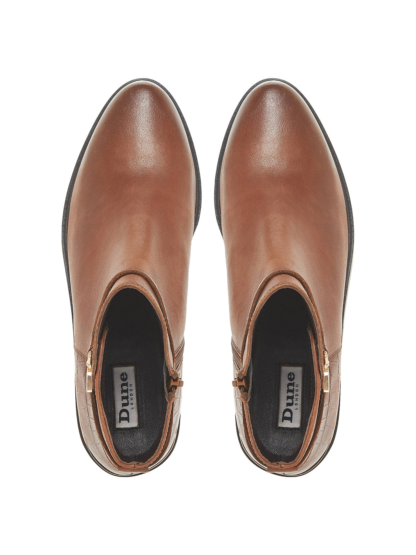 2a6f8c084c9 Dune Peppy Block Heel Ankle Chelsea Boots, Tan Leather at John Lewis ...