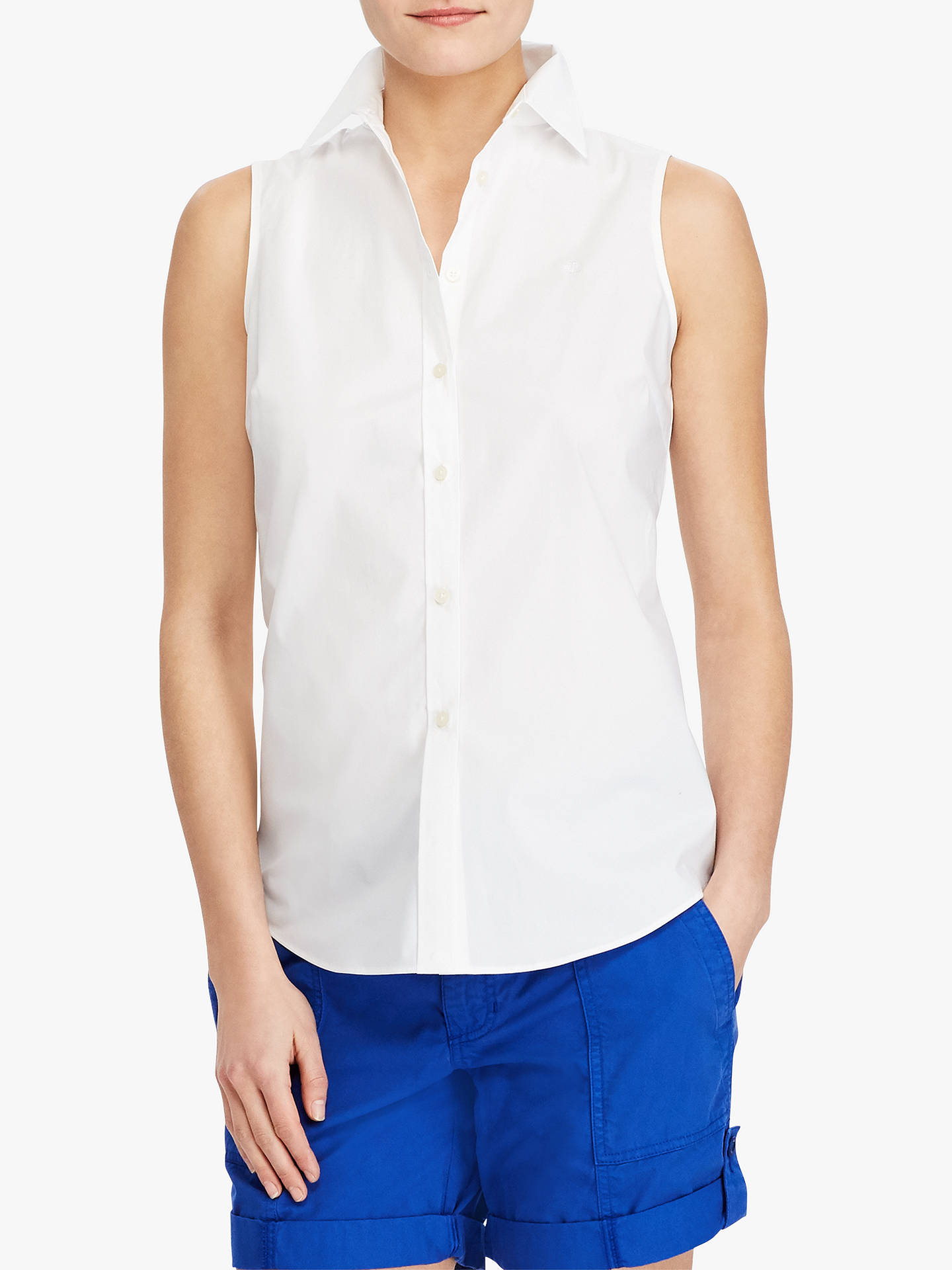 fea072979 Buy Lauren Ralph Lauren Sleeveless Shirt, White, XS Online at johnlewis.com  ...