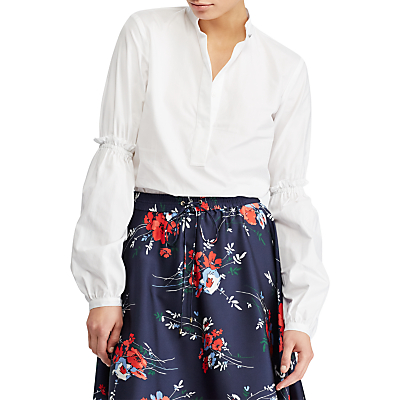 Lauren Ralph Lauren Brittnee Bishop Sleeve Shirt, White
